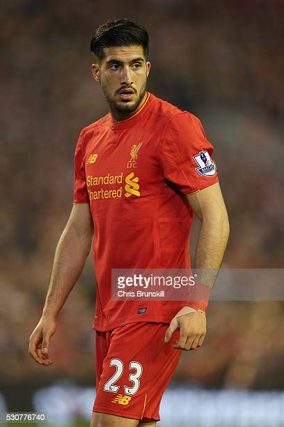 Emre Can of Liverpool looks on during the Barclays Premier League match between Liverpool and Chelsea at Anfield on May 11 2016 in Liverpool England