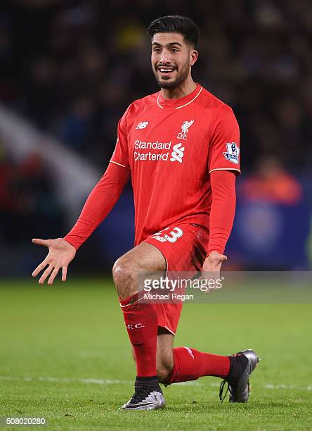 Emre Can of Liverpool reacts during the Barclays Premier League match between Leicester City and Liverpool at The King Power Stadium on February 2...
