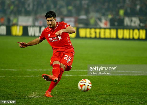 Emre Can of Liverpool scores his penalty in the shoot out during the 2nd leg of the UEFA Europa League Round of 32 match between Besiktas and...