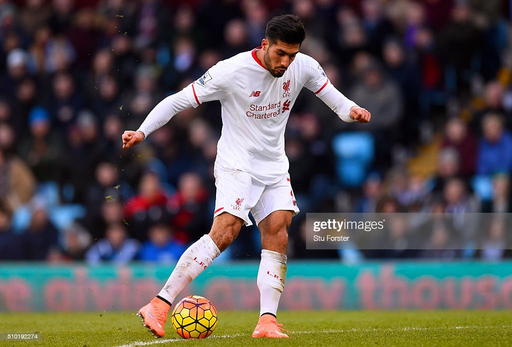 <a gi-track='captionPersonalityLinkClicked' href=/galleries/search?phrase=Emre+Can&family=editorial&specificpeople=5909273 ng-click='$event.stopPropagation()'>Emre Can</a> of Liverpool scores his team's third goal during the Barclays Premier League match between Aston Villa and Liverpool at Villa Park on February 14, 2016 in Birmingham, England.