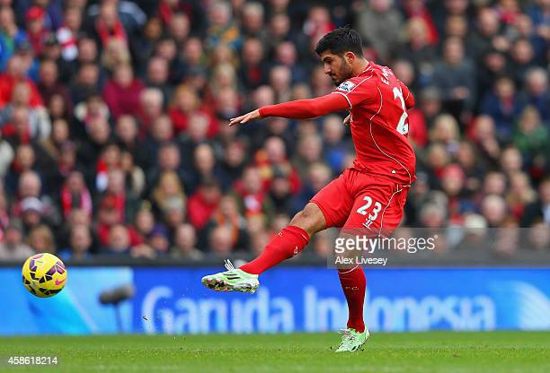 Emre Can of Liverpool scores the opening goal during the Barclays Premier League match between Liverpool and Chelsea at Anfield on November 8 2014 in...