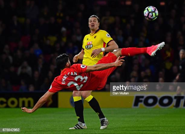 Emre Can of Liverpool scores the opening goal during the Premier League match between Watford and Liverpool at Vicarage Road on May 1 2017 in Watford...