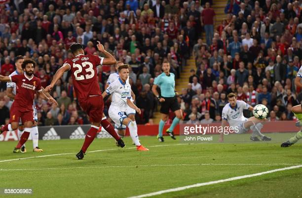 Emre Can of Liverpool scores the Third during the UEFA Champions League Qualifying PlayOffs round second leg match between Liverpool FC and 1899...