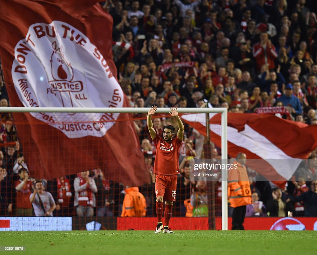 Emre Can of Liverpool shows his appreciation to the fans at the end of the UEFA Europa League Semi Final: Second Leg match between Liverpool and Villarreal CF at Anfield on May 05, 2016 in Liverpool, England.