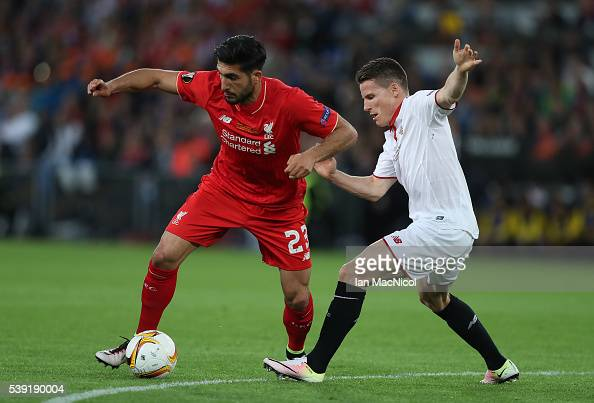 Emre Can of Liverpool vies with Kevin Gameiro of Sevilla during the UEFA Europa League Final match between Liverpool and Sevilla at St JakobPark on...