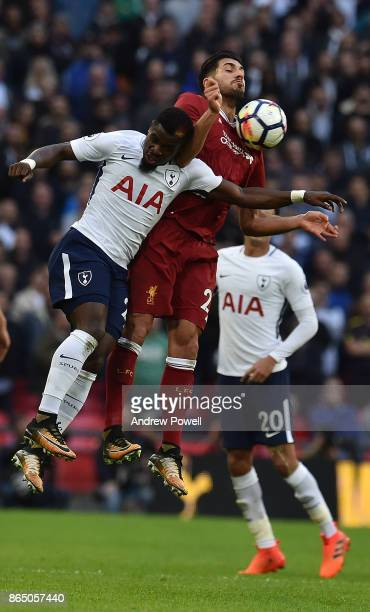 Emre Can of Liverpool with Davinson Sanchez of Tottenham during the Premier League match between Tottenham Hotspur and Liverpool at Wembley Stadium...