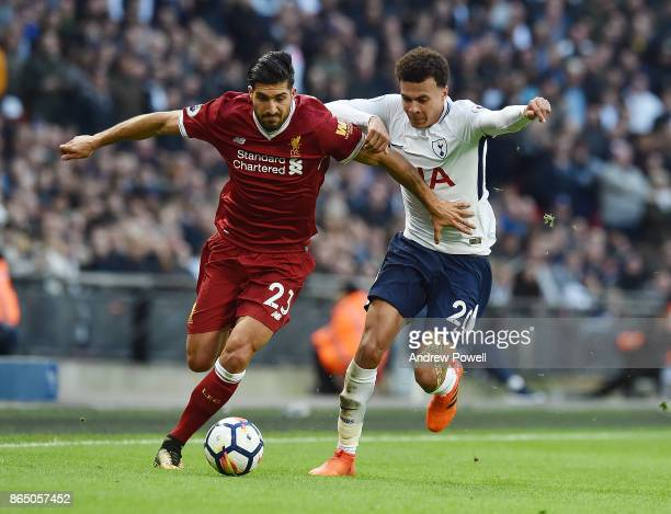 Emre Can of Liverpool with dele Alli of Tottenham during the Premier League match between Tottenham Hotspur and Liverpool at Wembley Stadium on...