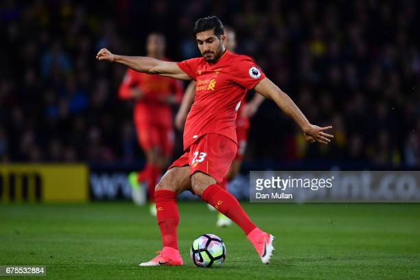 Emre Can of Liverpool ytakes a shot on goal during the Premier League match between Watford and Liverpool at Vicarage Road on May 1 2017 in Watford...