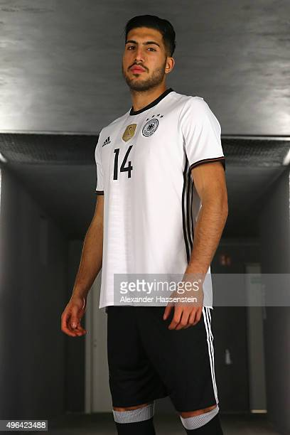 Emre Can poses at the adidas presentation of the new DFB home jersey for UEFA EURO 2016 at The Base on November 9 2015 in Berlin Germany