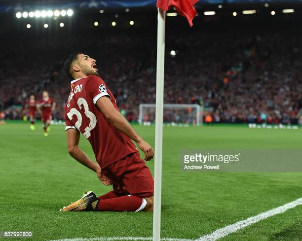 Emre Can Scores liverpool opener and celebrates of Liverpool during the UEFA Champions League Qualifying PlayOffs round second leg match between...
