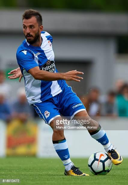 Emre Colak of Deportivo de La Coruna controls the ball during the preseason friendly match between Cerceda and Deportivo de La Coruna at O Roxo...