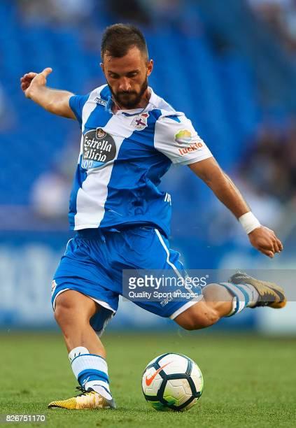 Emre Colak of Deportivo de La Coruna in action during the Pre Season Friendly match between Deportivo de La Corua and West Bromwich Albion at Riazor...