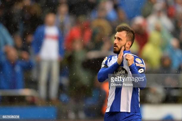 Emre Colak of RC Deportivo La Coruna celebrates the victory against FC Barcelona during the La Liga match between RC Deportivo La Coruna and FC...