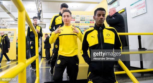 Emre Mor and Alexander Isak of Borussia Dortmund at the mixed zone prior the Bundesliga match between Borussia Dortmund and FC Ingolstadt 04 at...