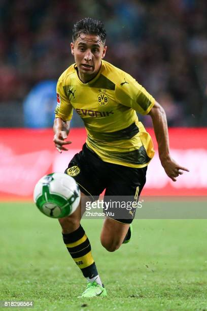 Emre Mor of Borussia Dortmund controls the ball at University Town during the 2017 International Champions Cup football match between AC milan and...