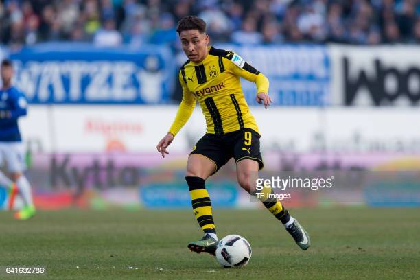 Emre Mor of Borussia Dortmund controls the ball during the Bundesliga match between SV Darmstadt 98 and Borussia Dortmund at Jonathan Heimes Stadion...