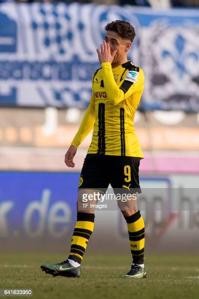 Emre Mor of Borussia Dortmund gestures during the Bundesliga match between SV Darmstadt 98 and Borussia Dortmund at Jonathan Heimes Stadion am...