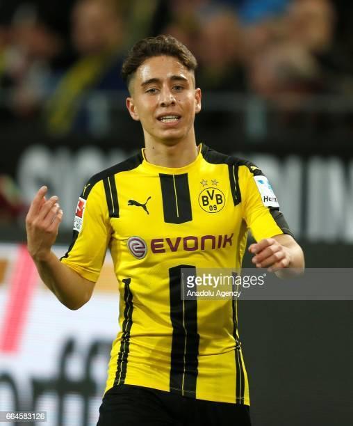 Emre Mor of Borussia Dortmund gestures during the Bundesliga soccer match between Borussia Dortmund and Hamburger SV at the Signal Iduna Park in...