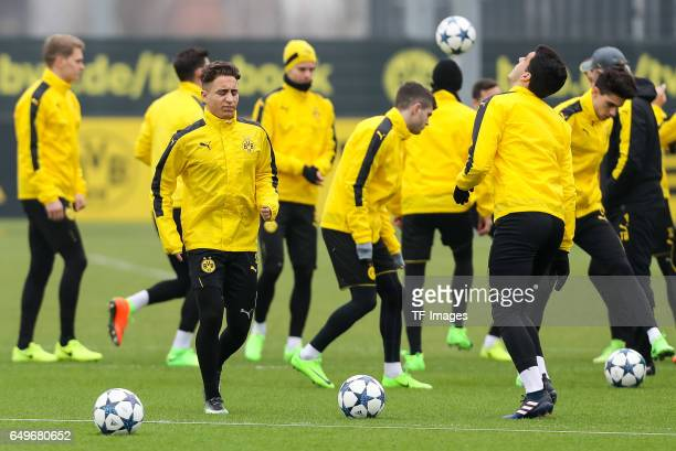 Emre Mor of Borussia Dortmund in action prior the training of Borussia Dortmund ahead of the UEFA Champions League Round of 16 second leg match...