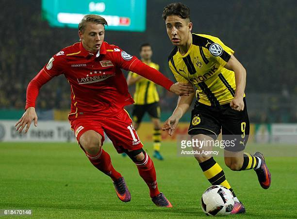 Emre Mor of Borussia Dortmund in action with Simon Hedlund of 1FC Union Berlin during the DFB Pokal soccer match between Borussia Dortmund and 1FC...