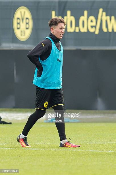 Emre Mor of Borussia Dortmund injured on the back during a training session at the BVB Training center on January 25 2017 in Dortmund Germany