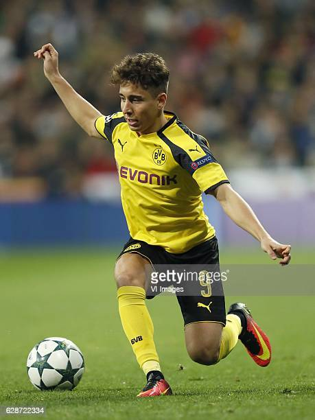 Emre Mor of Borussia Dortmundduring the UEFA Champions League group F match between Real Madrid and Borussia Dortmund on December 07 2016 at the...