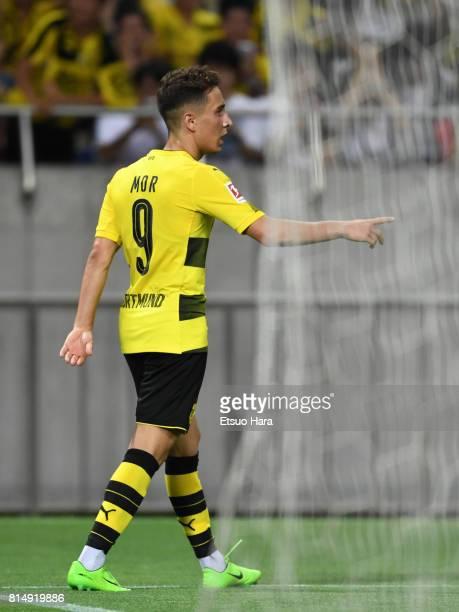 Emre Mor of Burussia Dortmund celebrates scoring his side's first goal during the preseason friendly match between Urawa Red Diamonds and Borussia...