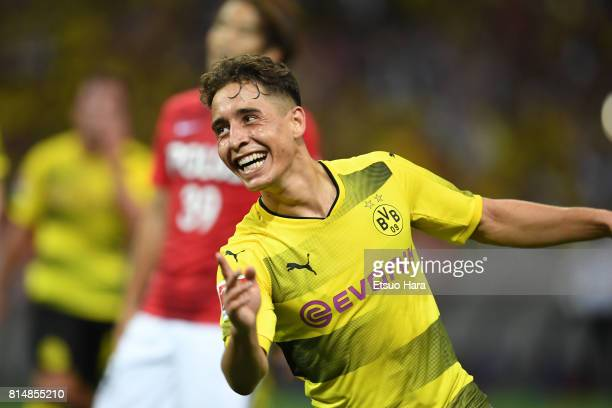 Emre Mor of Burussia Dortmund celebrates scoring his side's second goal during the preseason friendly match between Urawa Red Diamonds and Borussia...