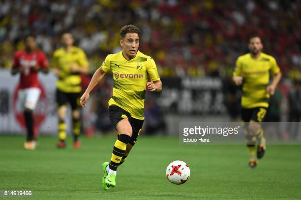 Emre Mor of Burussia Dortmund in action during the preseason friendly match between Urawa Red Diamonds and Borussia Dortmund at Saitama Stadium on...