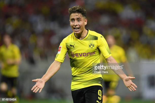 Emre Mor of Burussia Dortmund reacts during the preseason friendly match between Urawa Red Diamonds and Borussia Dortmund at Saitama Stadium on July...