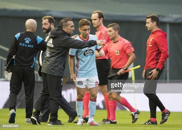 Emre Mor of Celta de Vigo greets his teammate following the La Liga match between RC Celta de Vigo and Deportivo Alaves at Balaidos Stadium on...
