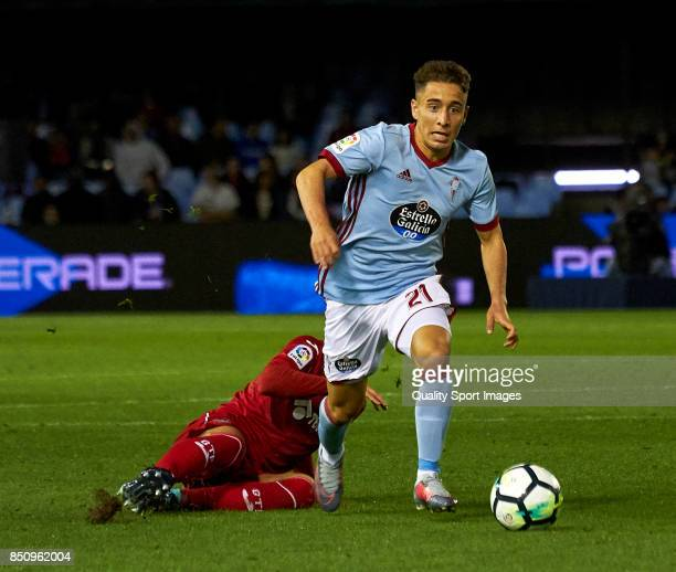 Emre Mor of Celta de Vigo in action during the La Liga match between Celta de Vigo and Getafe CF at Balaidos Stadium on September 21 2017 in Vigo...