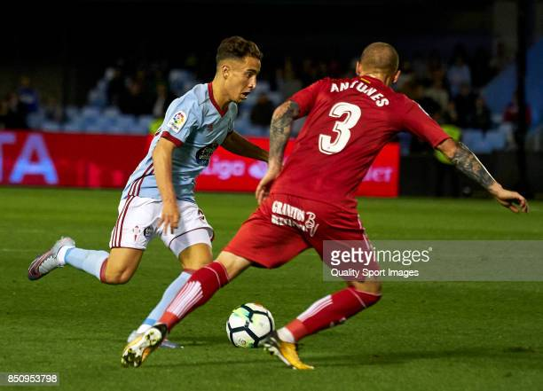 Emre Mor of Celta de Vigo is challenged by Vitorino Antunes of Getafe CF during the La Liga match between Celta de Vigo and Getafe CF at Balaidos...