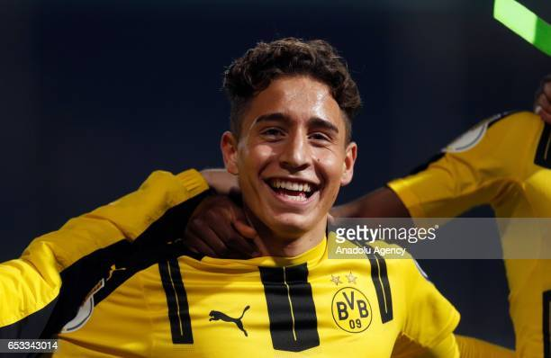 Emre Mor of Dortmund celebrates his team's victory after the DFB Cup quarter final between Sportfreunde Lotte and Borussia Dortmund at Bremer Bruecke...