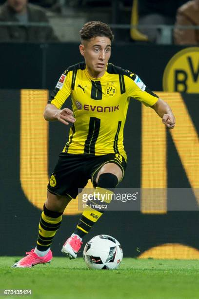 Emre Mor of Dortmund controls the ball during the Bundesliga match between Borussia Dortmund and Hamburger SV at Signal Iduna Park on April 4 2017 in...