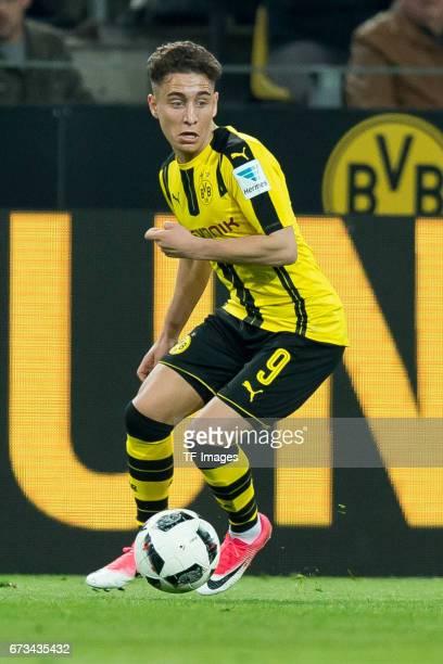 Emre Mor of Dortmund controls the ball during the Bundesliga match between Borussia Dortmund and Hamburger SV at Signal Iduna Park on April 4 2017 in...