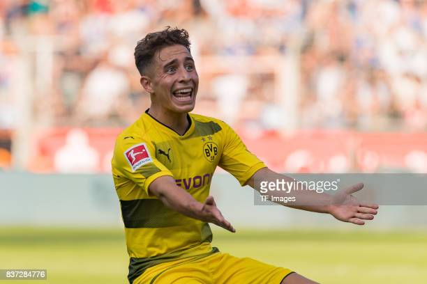 Emre Mor of Dortmund gestures during the preseason friendly match between VfL Bochum and Borussia Dortmund at Vonovia Ruhrstadion on July 22 2017 in...