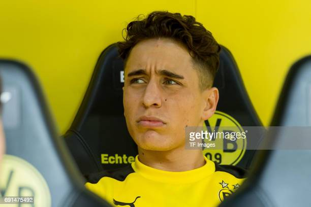 Emre Mor of Dortmund looks on during the Bundesliga match between Borussia Dortmund and TSG 1899 Hoffenheim at Signal Iduna Park on May 6 2017 in...