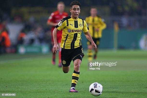 Emre Mor of Dortmund plays the ball during DFB Cup second round match between Borussia Dortmund and 1 FC Union Berlin at Signal Iduna Park on October...