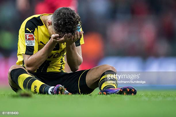 Emre Mor of Dortmund reacts during the Bundesliga match between Bayer 04 Leverkusen and Borussia Dortmund at BayArena on October 1 2016 in Leverkusen...