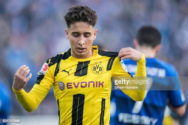 Emre Mor of Dortmund reacts during the Bundesliga match between SV Darmstadt 98 and Borussia Dortmund at Jonathan Heimes Stadion am Boellenfalltor on...