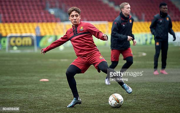 Emre Mor of FC Nordsjalland in action during the FC Nordsjalland training session at Farum Park on January 12 2016 in Farum Denmark
