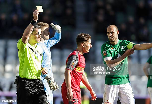 Emre Mor of FC Nordsjalland receives a yellow card from Referee Michael Tykgaard during the Danish Alka Superliga match between Viborg FF and FC...