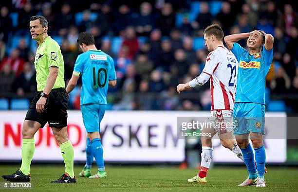 Emre Mor of FC Nordsjalland shows frustration against Referee Michael Tykgaard during the Danish Alka Superliga match between AaB Aalborg and FC...