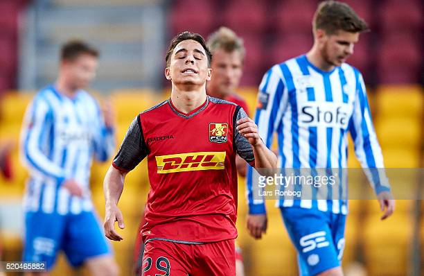 Emre Mor of FC Nordsjalland shows frustration during the Danish Alka Superliga match between FC Nordsjalland and Esbjerg fB at Farum Park on April 11...