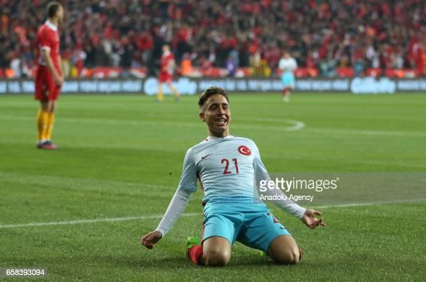 Emre Mor of Turkey celebrates after scoring a goal during a friendly football match between Turkey and Moldova at Yeni Eskisehir Stadium in Eskisehir...