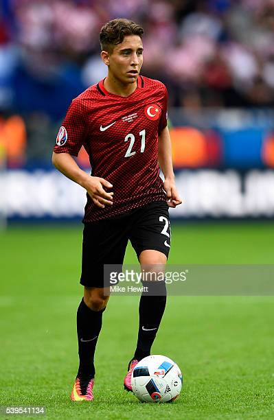 Emre Mor of Turkey in action during the UEFA EURO 2016 Group D match between Turkey and Croatia at Parc des Princes on June 12 2016 in Paris France