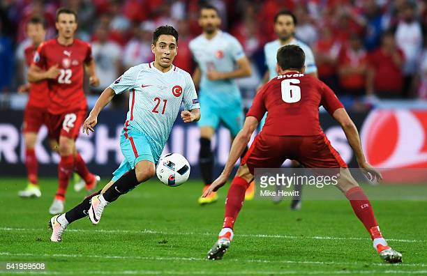 Emre Mor of Turkey runs at Tomas Sivok of Czech Republic during the UEFA EURO 2016 Group D match between Czech Republic and Turkey at Stade...