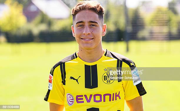 Emre Mor poses during the team presentation of Borussia Dortmund on August 17 2016 in Dortmund Germany