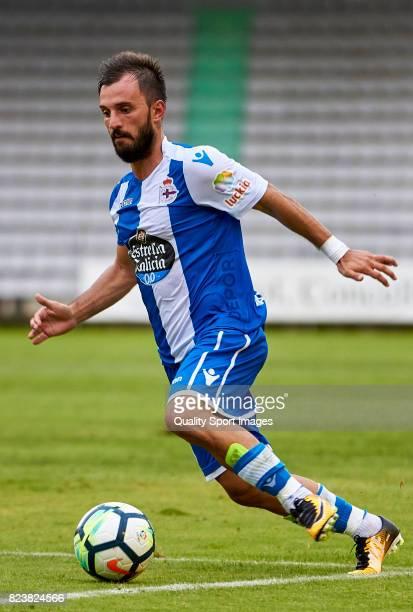Emre Çolak of Deportivo de La Coruna in action during the preseason friendly match between Racing de Ferrol and Deportivo de La Coruna on July 27...